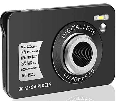 This is an image of a black HD 1080P Digital Camera with 30 MP and 8x digital zoom