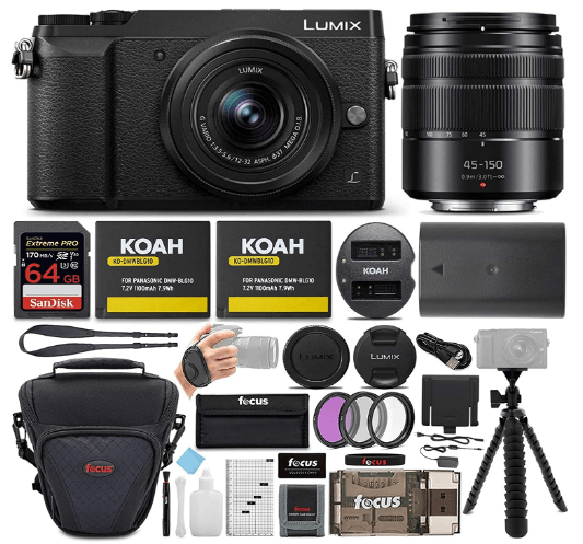 This is an image of a black Panasonic Lumix GX85 with 45-150 lens, 16 Mega-pixel, case, stand, SDcard, charger and bundle