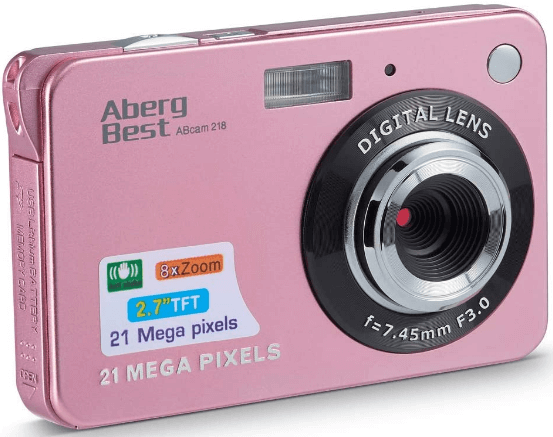 """This is an image of a pink AbergBest 21MP Camera with 2.7"""" LCD"""