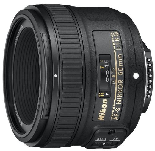 This is an image of a black Nikon AF 50mm camera lens for cameron lens