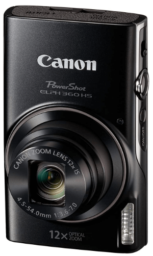 This is an image of a black Canon PowerShot ELPH 360 camera with 20.2 MP sensor and 12x Optical Zoom