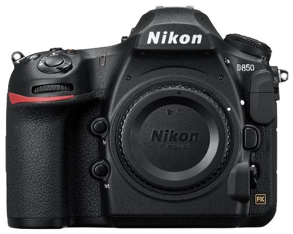This is an image of a black Nikon D850 Digital SLR Camera Body with 45.7 megapixels sensor