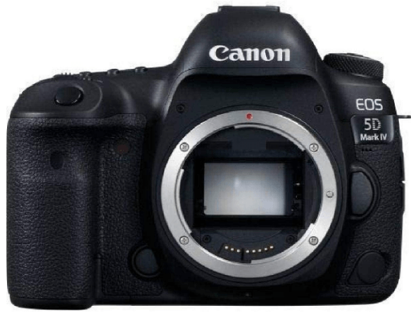 This is an image of a black Canon EOS 5D Mark IV Full Frame Digital SLR Camera Body with 30.4 Megapixel full-frame CMOS sensor
