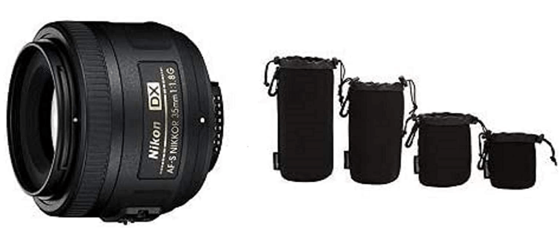 Nikon AF-S DX NIKKOR 35mm f/1.8G Lens with Auto Focus with Camera Lens Protective Pouches - Water Resistant