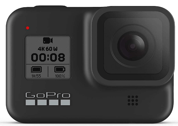 This is an image of a black GoPro HERO8 Waterproof Action Camera with Touch Screen LCD and 12MP sensor