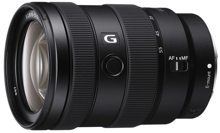 This is an image of a black Sony Alpha 16-55mm camera lens for sony a6500 camera