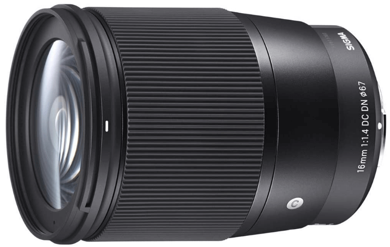 This is an image of a black Sigma 16mm camera lens for sony a6500 camera