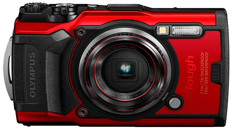 This is an image of a red Olympus Tough TG-6 digital camera with 12MP sensor and 25-100mm lens