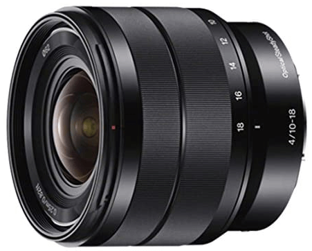 This is an image of a black Sony - E 10-18mm Wide-angle Zoom lens for sony a6500 camera