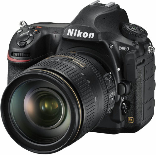 front view of a Nikon D850 with its lens attached