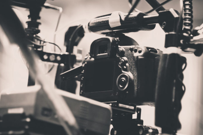 Camera on Film Set, Behind the scenes background, film crew production