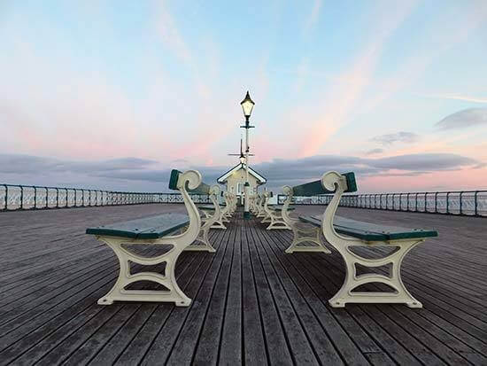 photo taken by a Nikon COOLPIX B500 camera of a peer with chairs on it