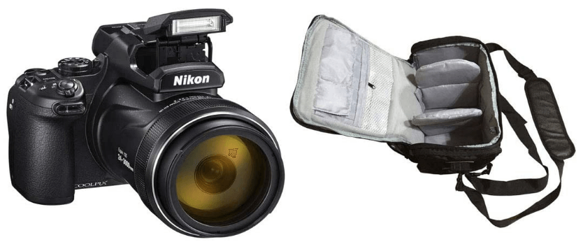 This is an image of a black COOLPIX P1000 Digital 4K Camera with 16.7MP sensor, 24 - 3000mm lens and Camera carrier case