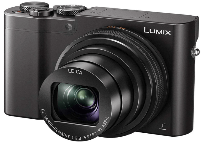 This is an image of a black PANASONIC LUMIX ZS100 4K digital camera with 10X LEICA zoom ,20.1 Megapixels sensor and 3 Inch LCD,
