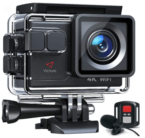 This is an image of a black Victure Action Camera AC700 4K with 20MP sensor, external Microphoneand Remote Control