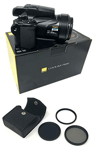 This is an image of a black COOLPIX P1000 4K Digital Camera with case