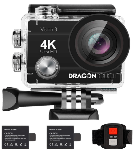 This is an image of a black Dragon Touch 4K Action Camera 16MP Vision 3 Underwater Waterproof Camera with 2 batteries and remote control