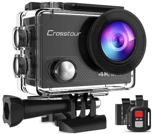 This is an image of a black Crosstour Action Camera with remote control and battery