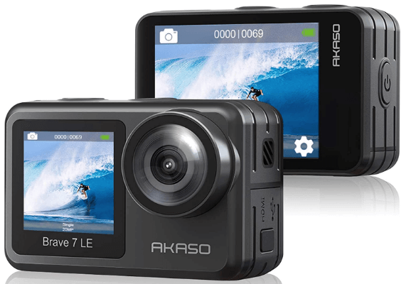 This is an image of front and backside of a black AKASO Brave 7 action camera
