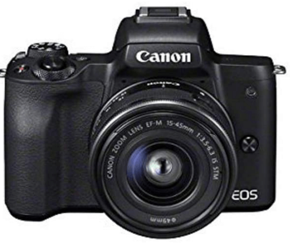 This is an image of a black Canon EOS M50 Compact System Camera with 15-45 mm Lens -
