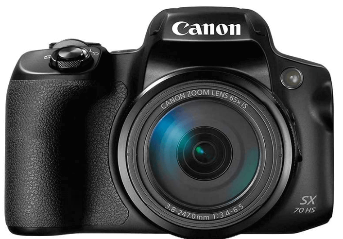 This is an image of a black Canon Powershot SX70 Digital Camera with 65x Optical Zoom Lens 4K Video, 20.3MP sensor and 3-inch LCD