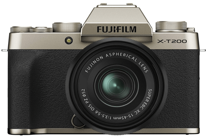 This is an image of a black and silver Fujifilm X-T200 Mirrorless Digital Camea with 15-45 mm Optical Zoom Lens