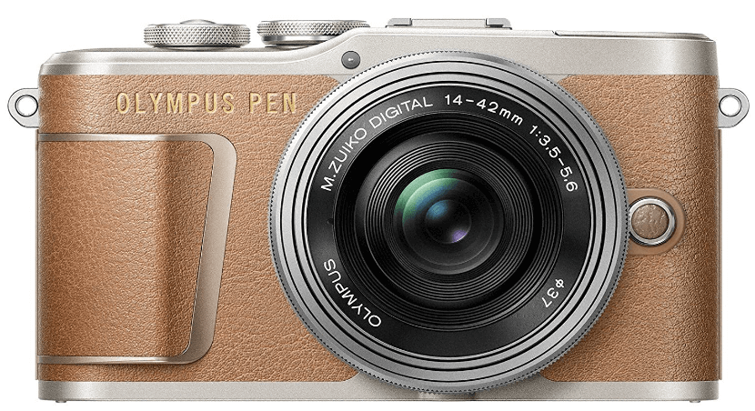 This is an image of a brown and silver Olympus PEN E-PL9 digital Camera with 16.1 Megapixel sensor and M.Zuiko 14-42 mm Zoom Lens