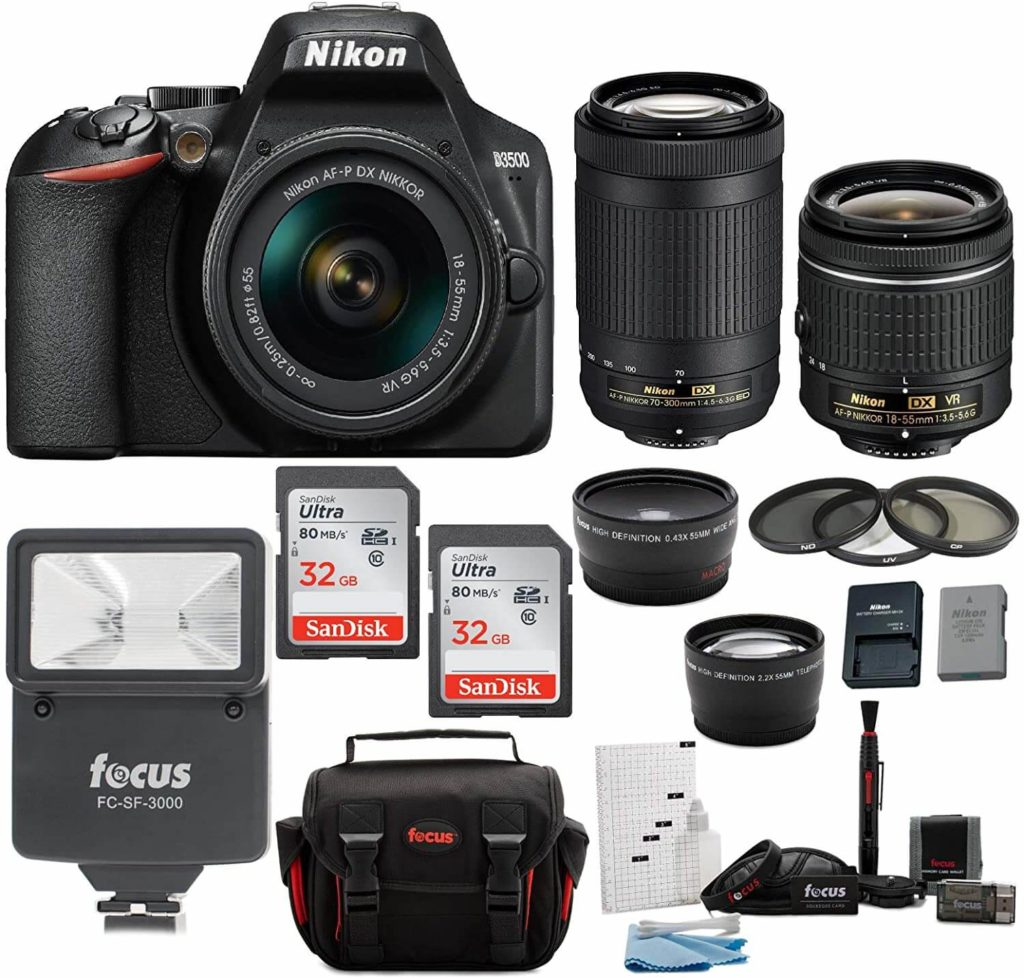 Nikon D3500, with camera accessories