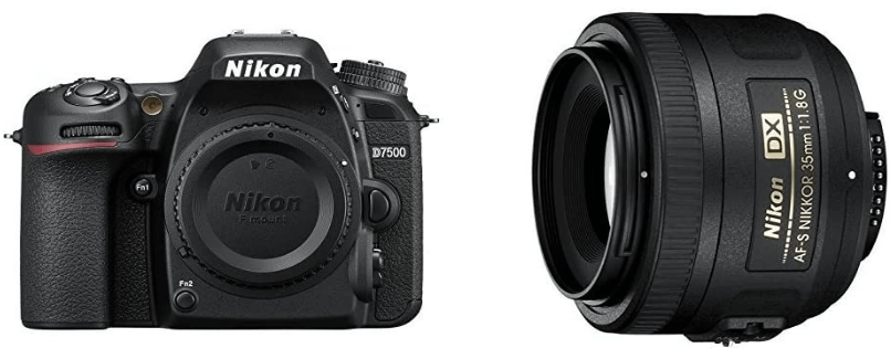 This is an image of a black Nikon D7500 DX-format Digital SLR camera with 35mm Prime Lens