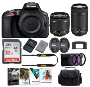 This is an image of a black Nikon D5600 DSLR Camera with 18-55mm and 70-300mm Lenses Bundle and accessories including memory card, carrier case and battery