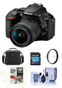 This is an image of a black Nikon D5600 DSLR Camera Kit with AF-S DX NIKKOR 18-140mm lens bundle with Camera Case, 16GB SDHC Card, 67mm UV Filter, Cleaning Kit, PC Software Package