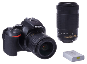 This is an image of a black Nikon D5600 DSLR with 18-55mm zoom and battery