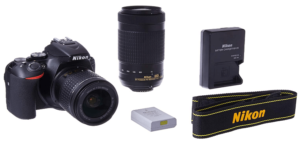 This is an image of a black Nikon D5600 DSLR with 18-55mm and 70-300mm lens bunbdle with battery