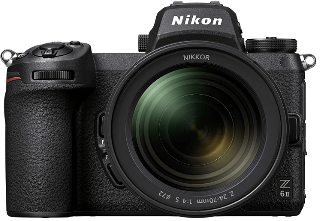 This is an image of a black Nikon Z 6II Mirrorless Camera with NIKKOR Z 24-70mm lens