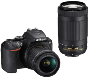 This is an image of a black Nikon D3500 camera with NIKKOR 18-55mm lens