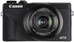 This is an image of a black Canon PowerShot G7X Mark III Digital 4K Vlogging Camera with 3.0-inch Touch LCD