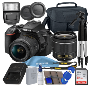 This is an image of a black Nikon D5600 DSLR Camera bundle including 18-55mm VR Lens, 64GB SDXC Memory Card, Tripod, Flash and battery charger