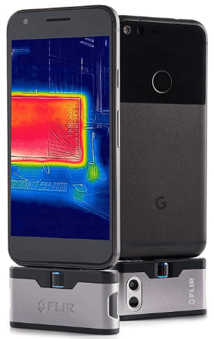This is an image of a black FLIR ONE Gen 3 - Android (USB-C) - Thermal Camera for Smart Phones - with MSX Image Enhancement Technology