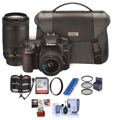 This is an image of a black Nikon D7500 DSLR camera bundle with NIKKOR 18-55mm VR and 70-300 lens, camera bag, 32GB SDHC Card, Cleaning Kit, Card Reader, 55mm Filter Kit, 58mm UV Filter, Memory Wallet, Mac Software