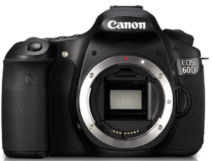 This is an image of a black Canon EOS 60D 18 MP CMOS Digital SLR Camera
