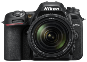 This is an image of a black Nikon D7500 Camera Body with 18-140 zoom