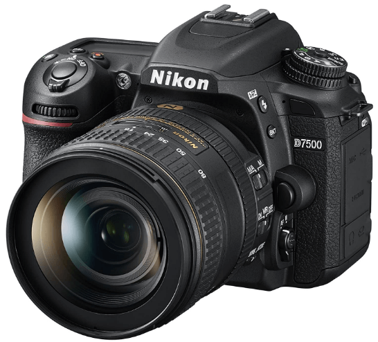 This is an image of a black Nikon D7500 20.9MP DSLR Camera with NIKKOR 16-80mm Lens