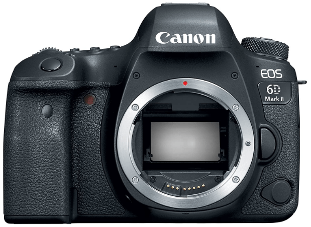 This is an image of a black Canon EOS 6D Mark II Digital SLR Camera Body