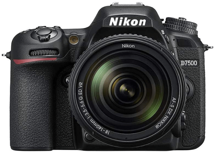 This is an image of a black Nikon D7500 20.9MP DSLR Camera with NIKKOR 18-140mm lens