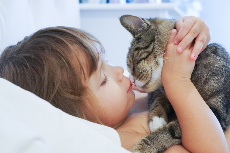 Photo of a kid hugging a cat