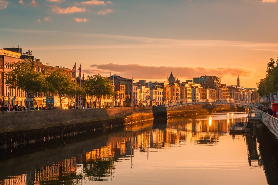 Golden hour picture of Dublin