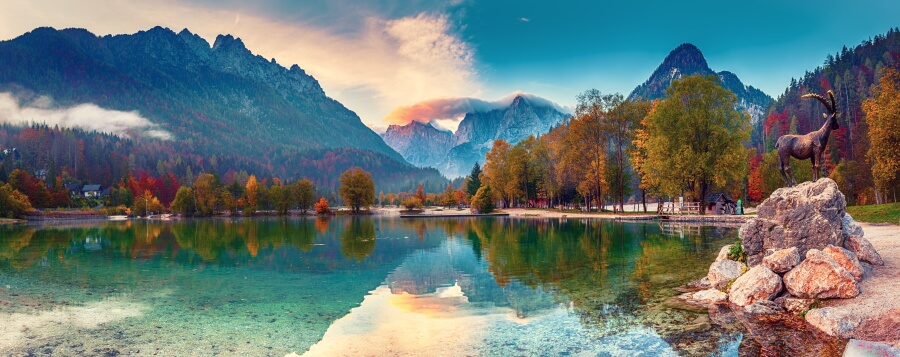 Landscape picture of a beautiful lake mirroring the sky