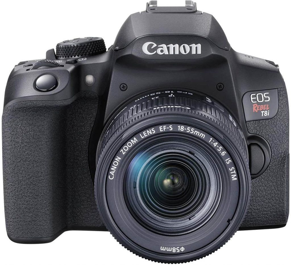 Canon EOS Rebel T8i camera (front view)